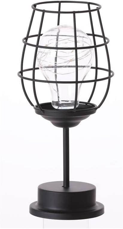 Lámpara decorativa para mesita de noche, funciona con pilas, hierro o escritorio, luces LED para dormitorio, sala de estar (copa de vino): Amazon.es: Iluminación