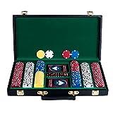 Trademark Poker 300 Chip Texas Hold'em Set with Deluxe Case Poker Chip Set, Black
