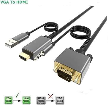 CableDeconn - Cable Adaptador VGA a HDMI con convertidor de Audio ...