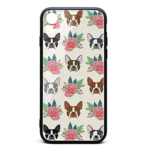 Boston Terrier Dog Flowers i-Phone Xr Case Protective Case Air Cushion Technology and Clear Hybrid Drop Protection for i-Phone ()