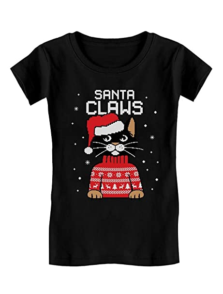 199e4e62c718bb Santa Claws Cat Ugly Christmas Sweater Toddler/Kids Girls' Fitted T-Shirt 2T