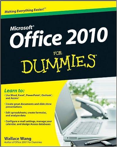 Office 2010 For Dummies: Wallace Wang: 9780470489987: Amazon com: Books