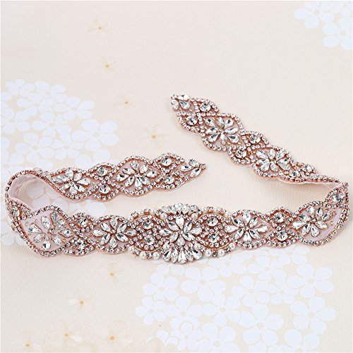 XINFANGXIU Rose Gold Wedding Bridal Sash Crystal Belt Rhinestone Applique Pearls Beaded Sewn Iron on for Formal Gown Dress (Rose Gold)