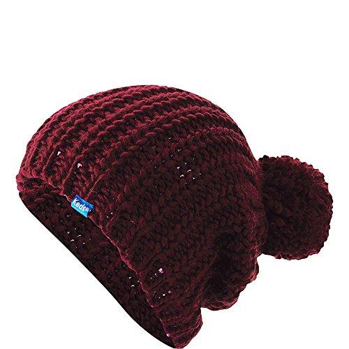 Keds Womens Chunky Knit Pom Beanie Beet Red