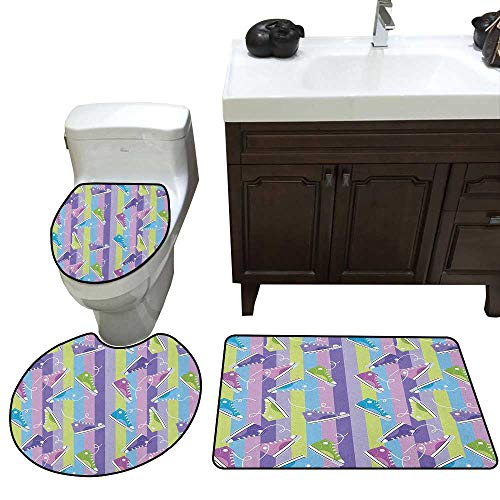 Retro 3 Piece Toilet Mat Set Different Colored Sneakers on Vertically Striped Backdrop Youth Footwear Fashion Contour Rug for Home Decor - Footwear Brown Youth Combo