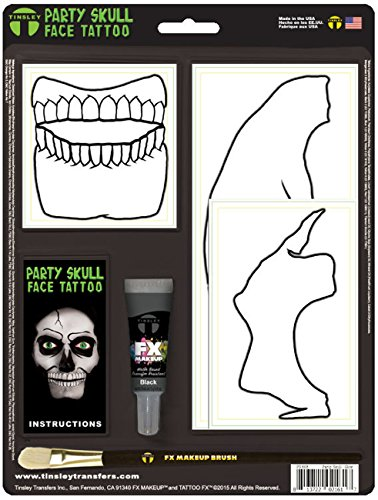 Glow in the Dark Skeleton Party Skull Face Tattoo Costume Accessory -