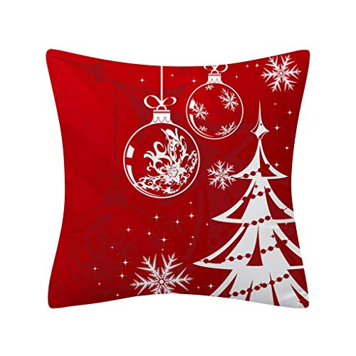 Christmas Square Pillowcases Red Buffalo Check Holiday Pillow Covers with Truck Deer Socks Xmas Gifts 18 x 18 - Pillow Inch 18 Square Accent