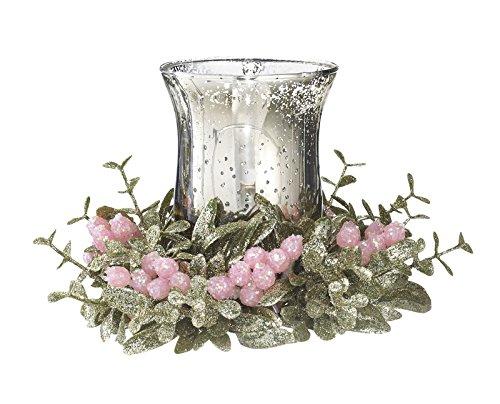 Holly Light (Ganz 7Inch Kissing Krystals Glass Floral Mistletoe Pretty In Pink Holly Tea Light Holder)