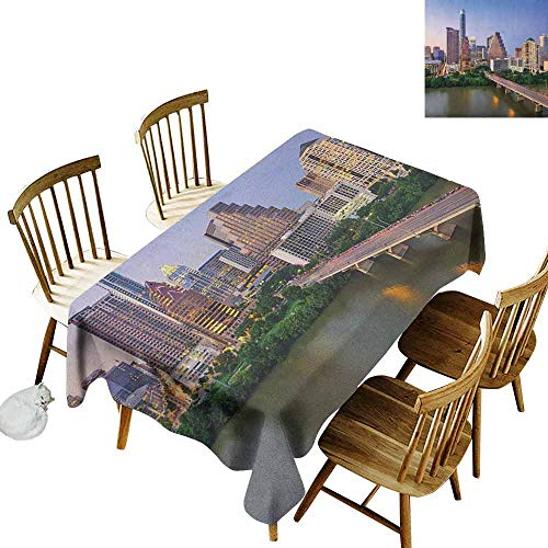 DONEECKL Modern dust-Proof Tablecloth Daily use Austin Texas American City Bridge Over The Lake Skyscrapers USA Downtown Picture Multicolor W60 xL84]()
