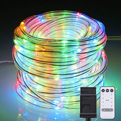 (B-right LED Rope String Lights Outdoor, 72ft 200 LEDs String Lights Plug in Remote Dimmable 8 Modes Waterproof for Tree Patio Garden Fence Roof, Multi-Color)