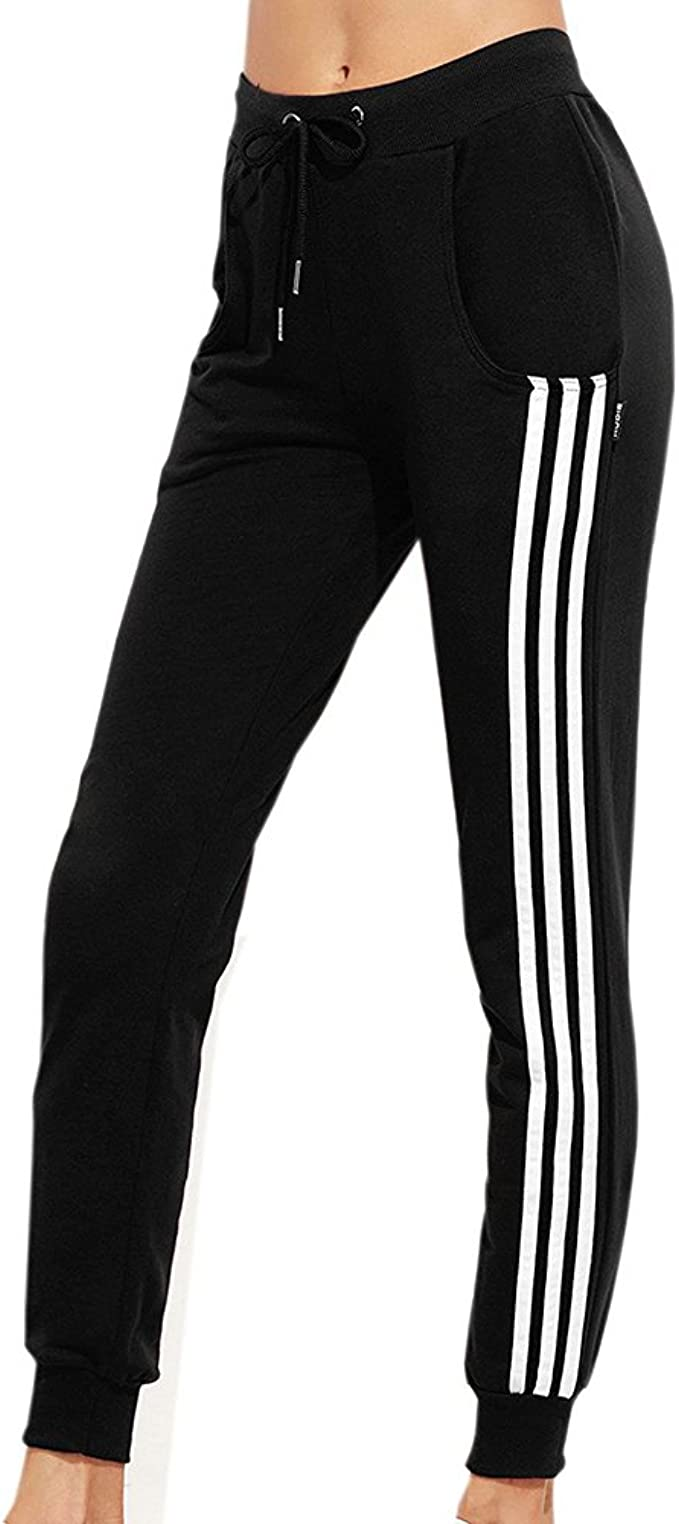 Juleya Moda Mujer Pantalones de chándal Negro Correr ...