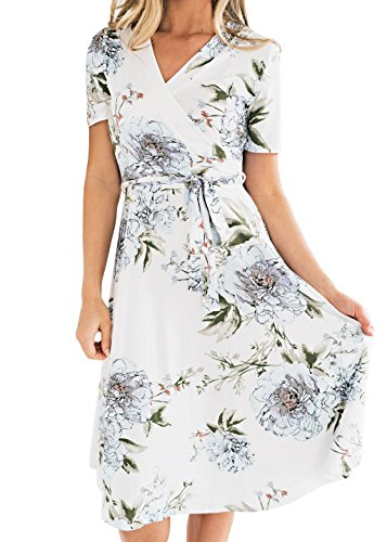 - Haloumoning Womens Short Sleeve Floral Print Faux Wrap Midi Dress with Belt