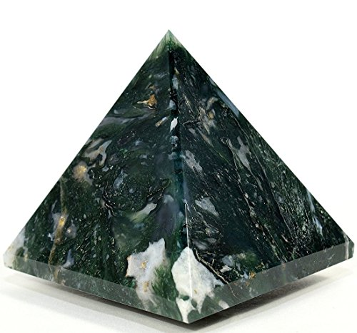 "AAA Grade Moss Agate Pyramid Size Approx. 1.75-2"" Inch- Healing GemStone Reiki Crystal - Energized Chakra crystal Balancer generator Reiki Healing Pyramid - A high quality product from US Seller"