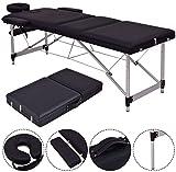 K&A Company Table Pvc Massage Aluminum Spa Bed Portable Tattoo Facial Tool Home Foam Beauty New Black 72'' L