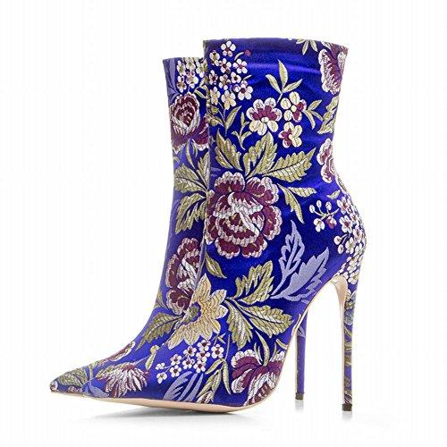 Reißverschluss Damen Stiletto Stiefel Blau Mehrfarbig Mee Shoes gUTyqyF