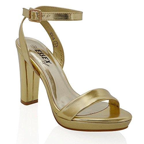 Essex Glam Sintético Zapatos de fiesta con tacón cuadrado, plataforma y tira al tobillo Oro Metálico