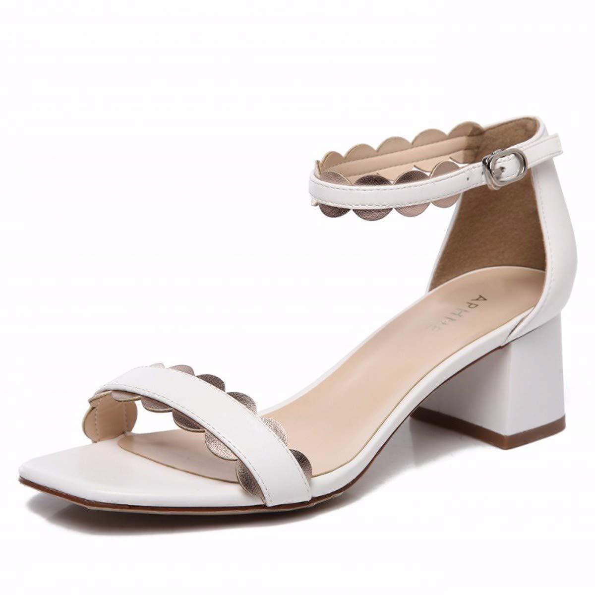 KOKQSX-Sandalen Schnallen Schuhe medium - 5cm rau bei Square Kopf Sandalen 38 weiße