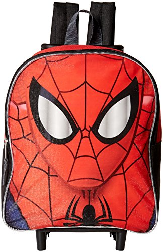 """Disney Spiderman Face 12"""" Rolling Backpack Red Toddler Size"""