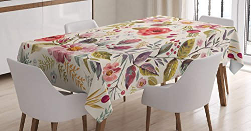 Pink Rose Bud Print - Ambesonne Shabby Chic Tablecloth, Watercolor Abstract Spring Poppies Flowers Roses Buds Leaves Romantic Print, Dining Room Kitchen Rectangular Table Cover, 60 W X 84 L Inches, Cream Pink
