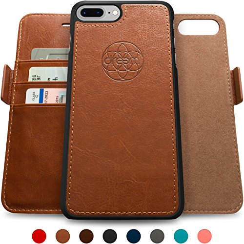 Dreem iPhone 7 PLUS Wallet Case with Detachable SlimCase, Fibonacci Luxury Series, Vegan Leather, RFID Protection, 2 Kickstands, Gift Box - Brown