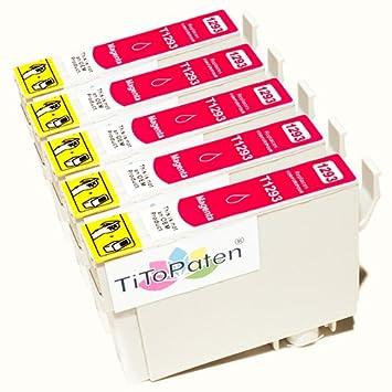 *TITOPATEN* 5x Epson Stylus Office BX 535 WD Plus kompatible XL Druckerpatrone ersetzt Typ T1291-1294 - Magenta - Patrone MIT