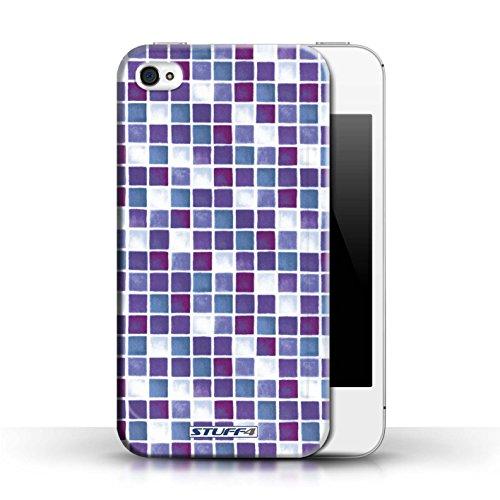 Coque en plastique pour Apple iPhone 4/4S Collection Carreau Bain - Violet/Blanc