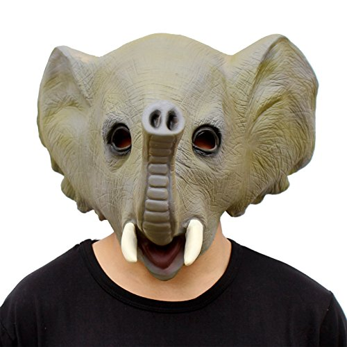 [CreepyParty Deluxe Novelty Halloween Costume Party Latex Animal Head Mask Elephant] (Animal Halloween Costumes Men)