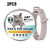 Flea and Tick Collar for Cats, Anti Flea Collar Treatment for Cats - Natural Essential Oil Formula 8 Months Protection, Hypoallergenic and Waterproof Adjustable 15in Length,2pcs