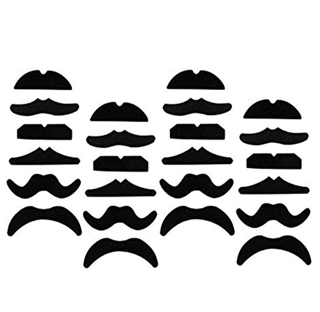 Novelty Fake Mustaches LY-ONE 48 pcs, Self Adhesive Beard for Masquerade Party and Performance, Fake Mustaches, Mustache Party Supplies