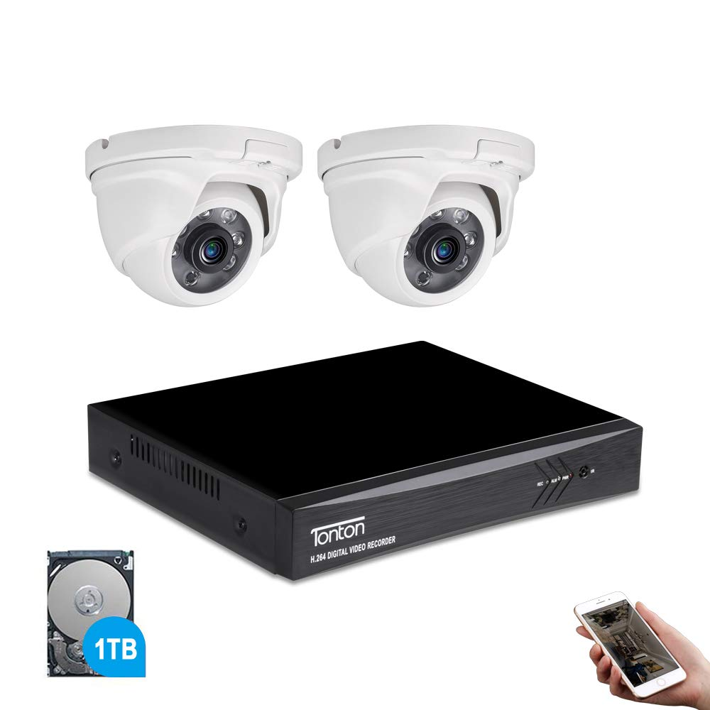 Tonton 4CH Full HD 1080P Expandable Security Camera System, 5-in-1 Surveillance DVR with 1TB Hard Drive and 2 2.0MP Waterproof Outdoor Indoor Dome Cameras, Free APP Remote Viewing and Email Alerts
