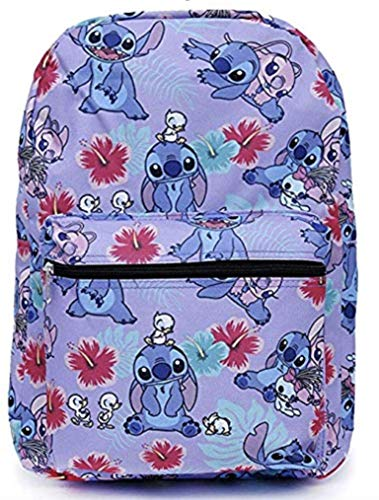 Disney Lilo and Stitch Purple Allover Print 16 inch Girls Large School Backpack-]()