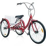 Merax 26 Inch 3 Wheel Bike Adult Tricycle Trike Cruise Bike (Ruby)