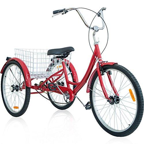 Merax 26 Inch 3 Wheel Bike Adult Tricycle Trike Cruise Bike (Red)