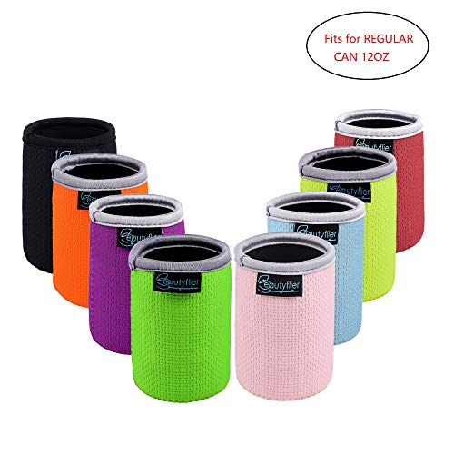 Beautyflier Pack of 8 Anti-Slip Embossed Neoprene Can Insulator Sleeve 3mm Thick Collapsible Regular Drink Can Coolie Cover for BBQ Camping Party -
