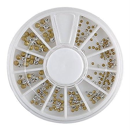 Nail Art Wheel 3D Rhinestone Glitter Gems Decoration Crystals Pearls Decor Beads (12 Colours Half Pearls) NellyArt