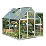 Palram HG5508PH Hybrid Hobby Greenhouse, 6' x 8' Silver, Plant Hangers Included