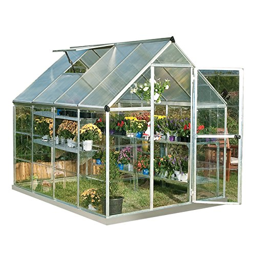 Palram HG5508PH Hybrid Hobby Greenhouse, 6' x 8', Silver, Plant Hangers Included
