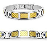 Mason Dunn Blue Sapphire Titanium Bracelet with Gold Plated Steel Inlay