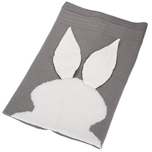 Cowboy Nap Mat - KUYOU Baby Children nap Bunny Jacquard Ear Tail Knit Wool Blanket (Light Grey)