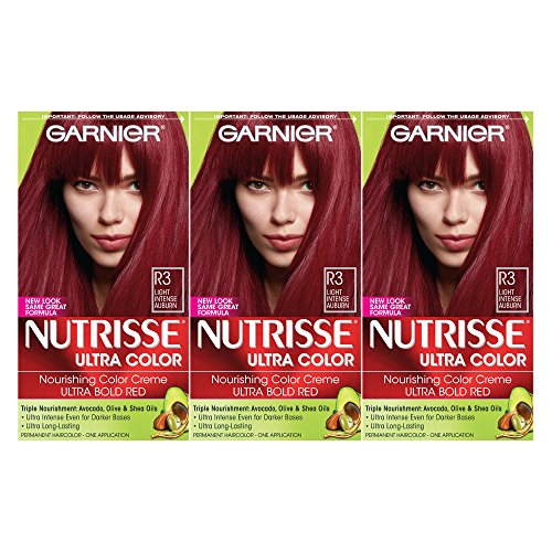 Garnier Nutrisse Ultra Color Nourishing Hair Color Creme, Light Intense Auburn, 3 Count  (Packaging May Vary) by Garnier