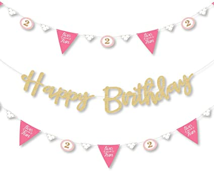 2nd Birthday Banner Celebration Party Bunting Boy Girl Banner Age 2 Second Yr