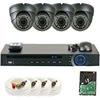 GW Security 4 Channel HD-CVI DVR (4) 2.8-12mm Motorized Zoom 2MP 1080P Weatherproof Sony Cmos Dome Security Camera System