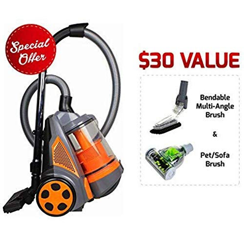 Ovente ST2620O Bagless Canister Cyclonic Vacuum - HEPA Filter - Includes Pet/Sofa, Bendable Multi-Angle, Crevice Nozzle/Bristle Brush, Retractable Cord - Featherlite - ST2620 Series, Orange