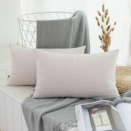 Kevin Textile Checkered Weaving Cotton Linen Decorative Throw Cushion Covers Pillowcase for Sofa, 2 Packs, 12 x 20 Inch (30 x 50cm), Light Beige ()