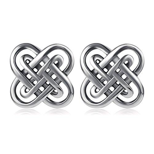 (YFN Celtic Knot Earring Vintage Sterling Silver Flower Women Stud Earrings 10mm)