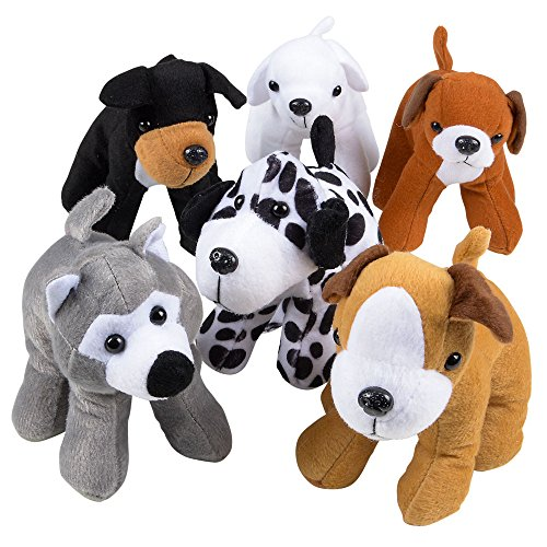 Bedwina Plush Puppy Dogs - (Pack of 12) 6 Inches Tall Stuffed Animals Bulk Assorted Puppies and Cute Stuffed Plushed Dog Puppies Assortment ()