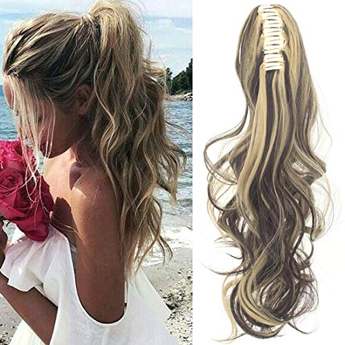 FUT Womens Claw Ponytail Clip in Hair Extensions 21 inches Long Straight Hairpiece (Hair Clip Wigs)