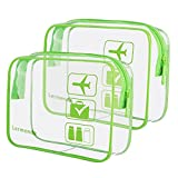 2pcs/pack Lermende Clear Toiletry Bag TSA Approved Travel Carry On Airport Airline Compliant Bag Quart Sized 3-1-1 Kit Luggage Pouch (9.Green)