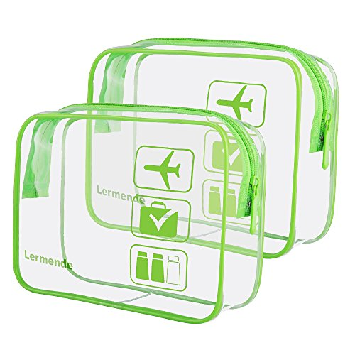 2pcs/pack Lermende Clear Toiletry Bag TSA Approved Travel Carry On Airport Airline Quart Sized 3-1-1 Compliant Bag Make-up Pouch Kit (Green)