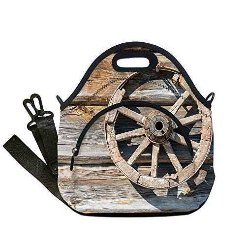 Insulated Lunch Bag,Neoprene Lunch Tote Bags,Barn Wood Wagon Wheel,Old Log Wall with Cartwheel Telega Rural Countryside Themed Image Decorative,Umber Beige,for Adults and children